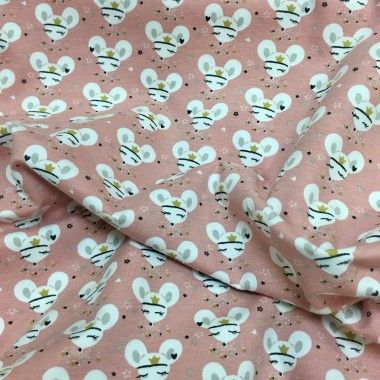 Tissu jersey souris rose
