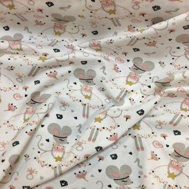 Tissu jersey souris blanc