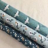 Coupon coton enduit fleurs bleu