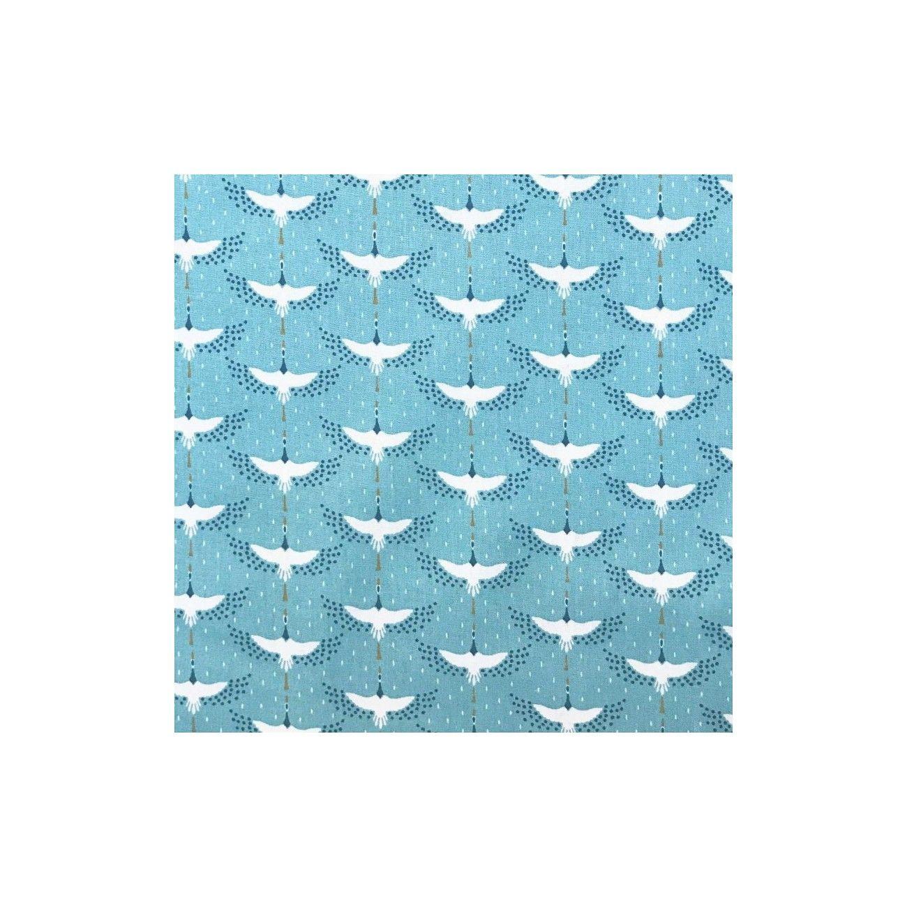 Coupon coton enduit oiseaux grues