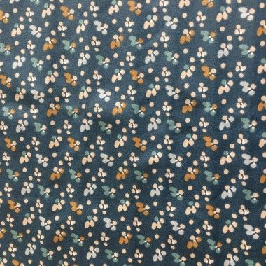 Coupon coton enduit petites fleurs bleu