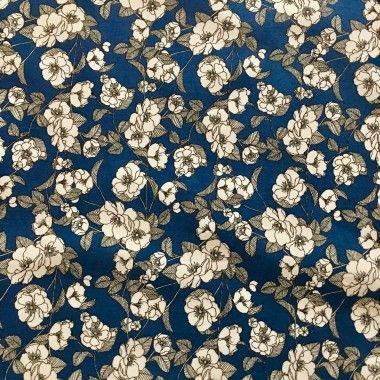 Tissu fleurie Marguerite bleu