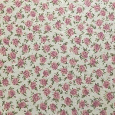 Tissu Roses rose
