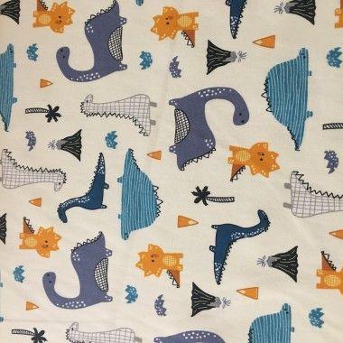 Tissu coton Dino bleu