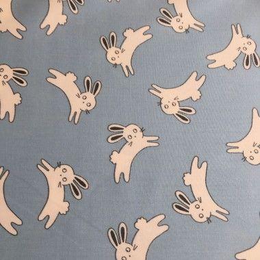 Tissu coton petit lapin bleu