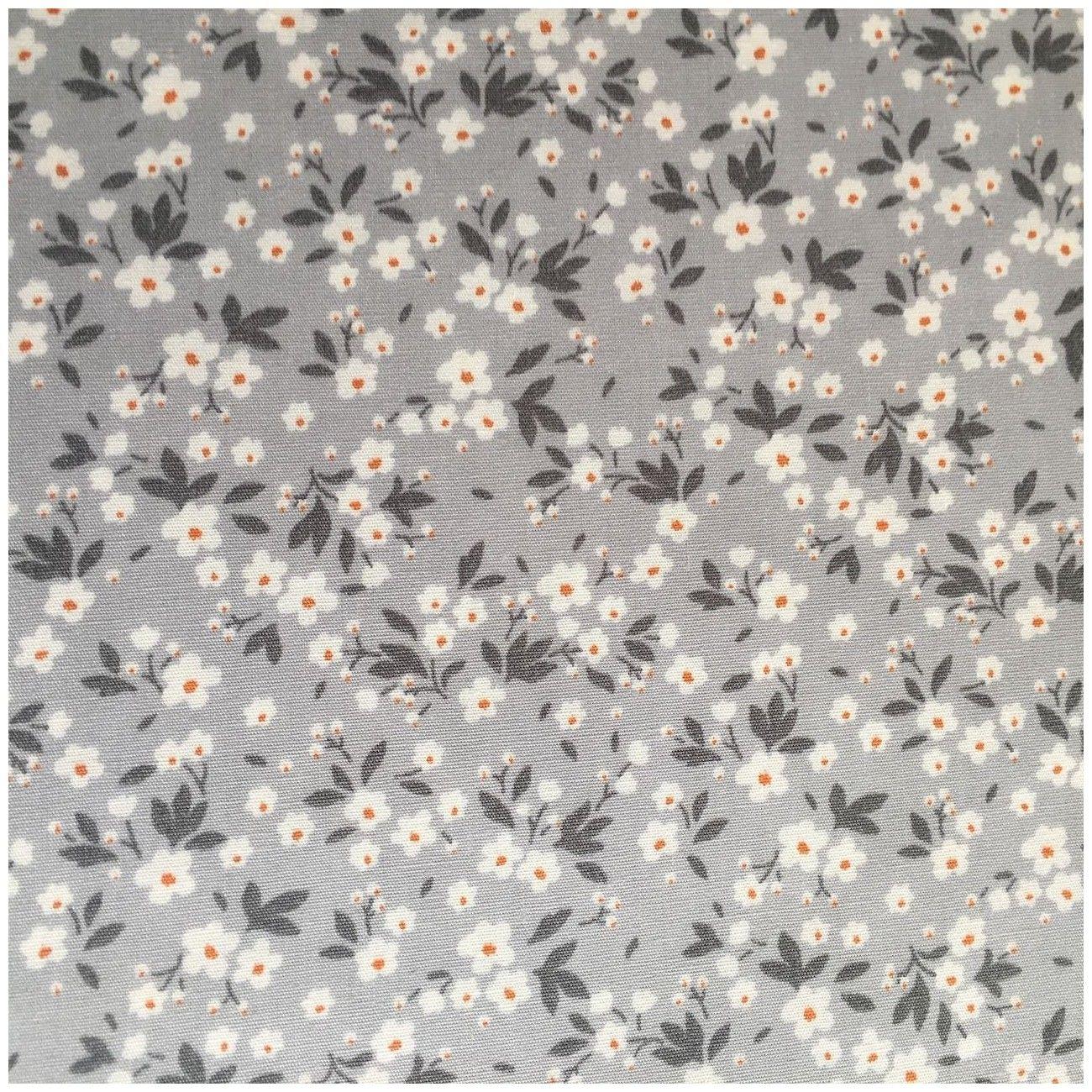 Tissu fleuri Mimi  gris