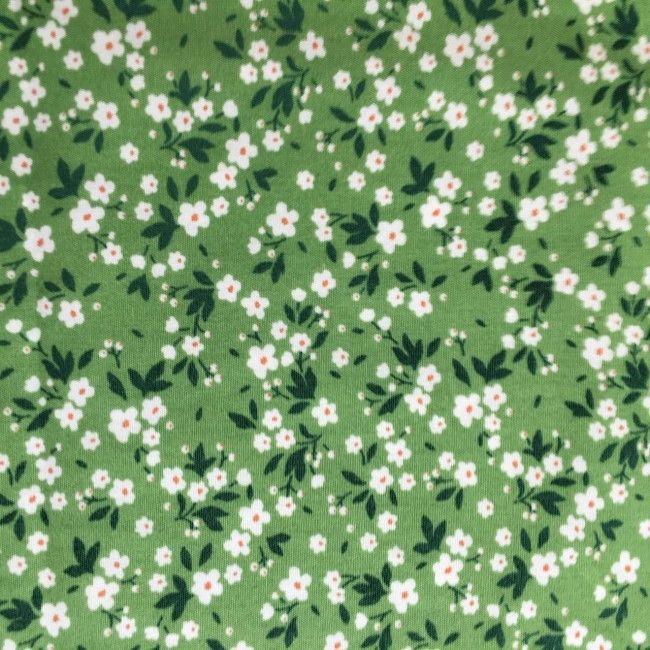 Tissu fleuri Mimi vert
