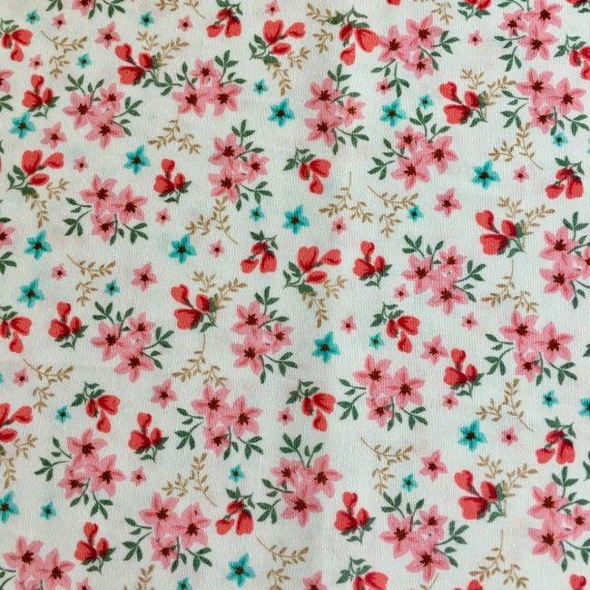 Tissu fleuri Rosalie blanc