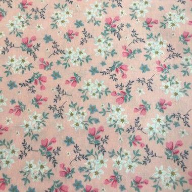 Tissu fleuri Rosalie rose