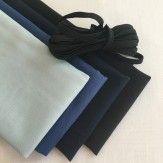 Lot de 4 coupons tissu uni noir et bleu