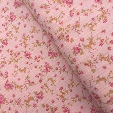 Tissu double gaze en coton rosy rose