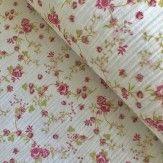 Tissu double gaze en coton rosy blanc