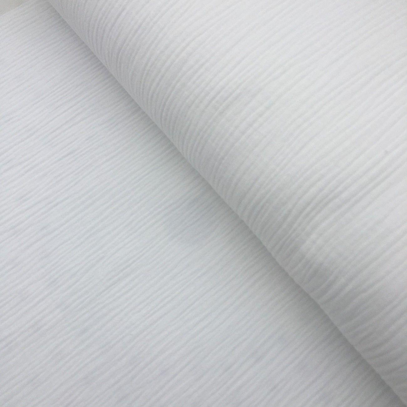 Tissu double gaze en coton uni blanc