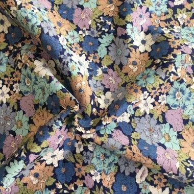 Tissu coton fleuri Annie bleu