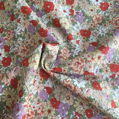 Tissu coton fleuri Annie ecru