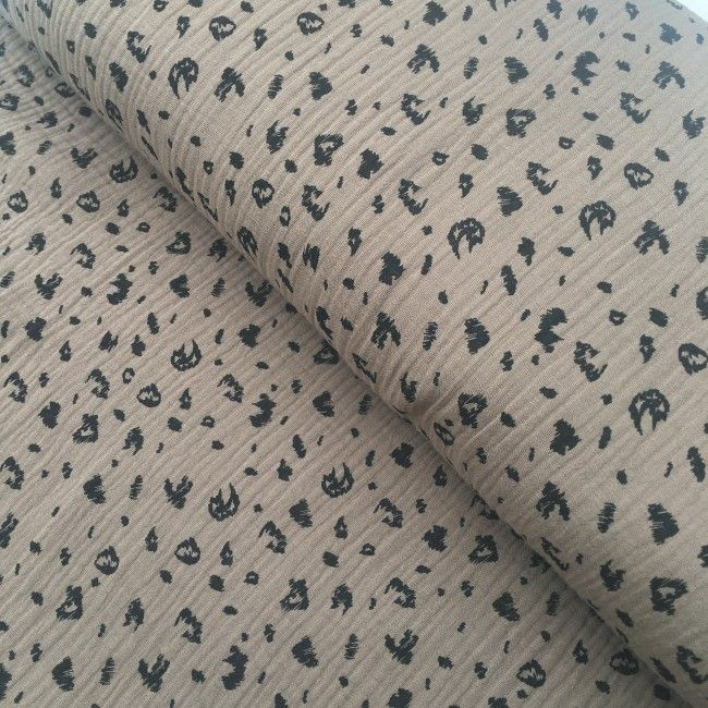 Tissu double gaze de coton Poppy animaux taupe
