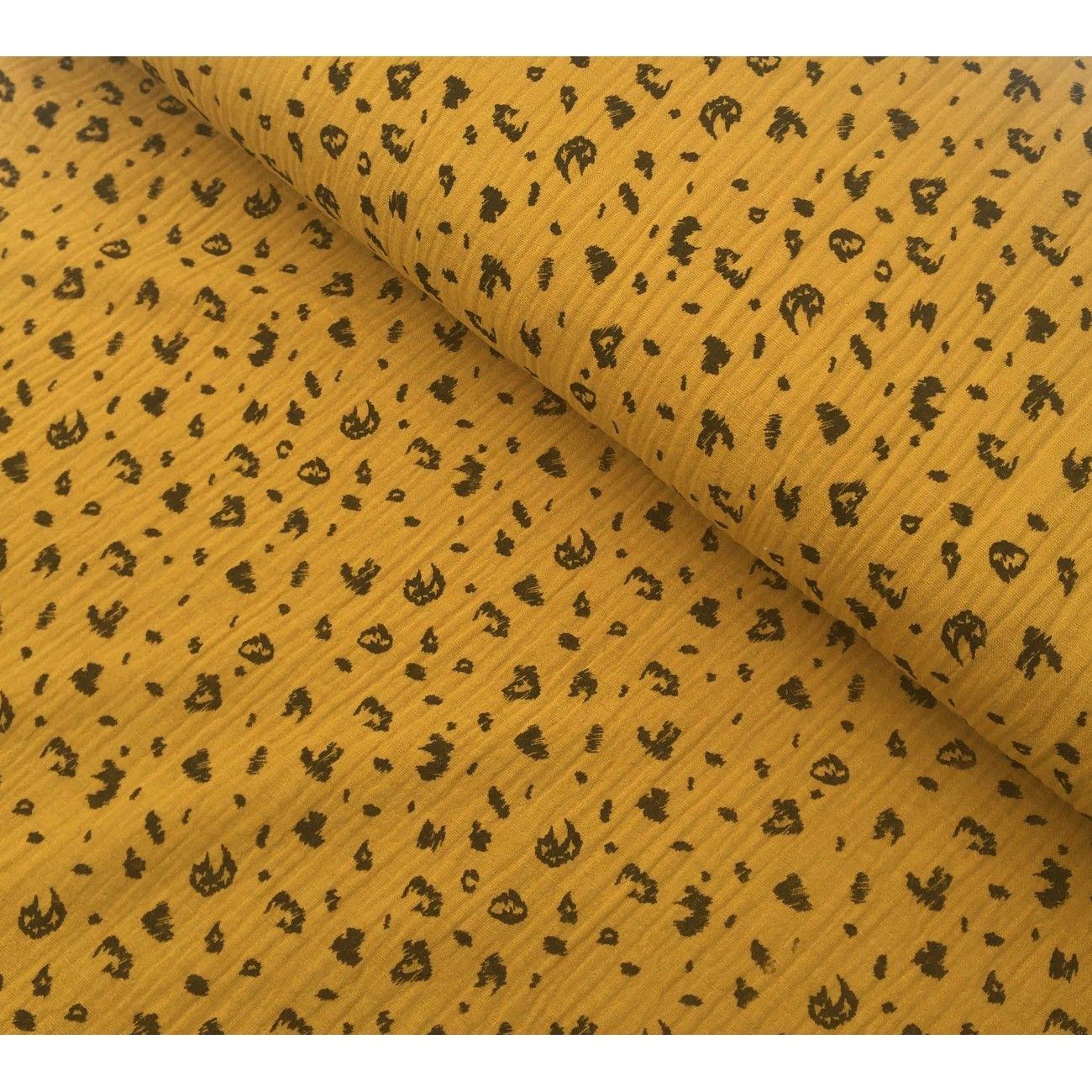 Tissu double gaze de coton Poppy animaux ochre