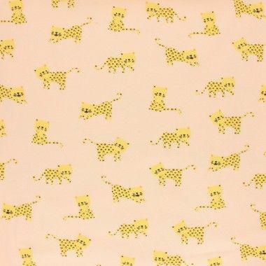 Tissu jersey Poppy little panther peche