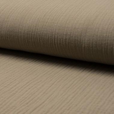 Tissu double gaze de coton uni taupe