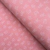Tissu double gaze de coton petit lapin rose