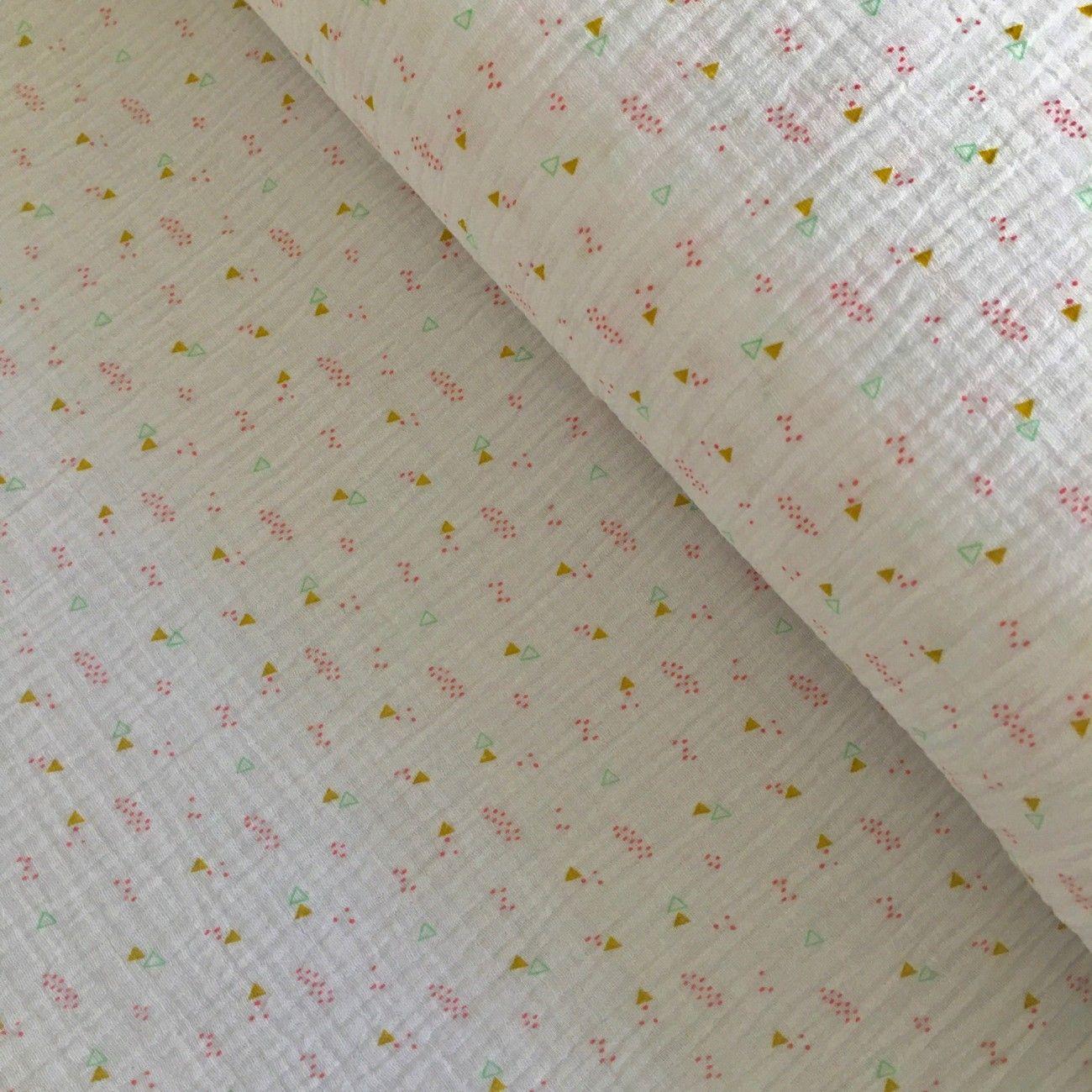 Tissu double gaze de coton petites formes blanc