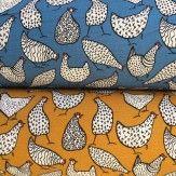 Tissu coton poule bleu