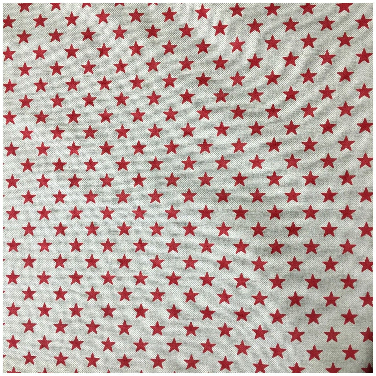 Tissu toile coton étoiles rouge
