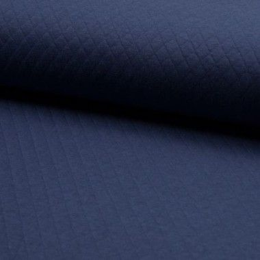 Tissu jersey matelasse bleu jean