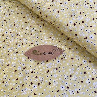 Tissu coton bio petit fleur jaune