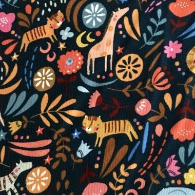 Tissu velour milleraies corduroy Dashwood -Meadow Safari animals