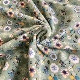 Tissu sweat bio fleurs vert
