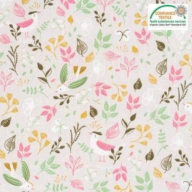 Tissu coton feuilles et  petits oiseaux lin