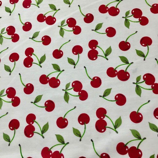 Tissu coton cerises