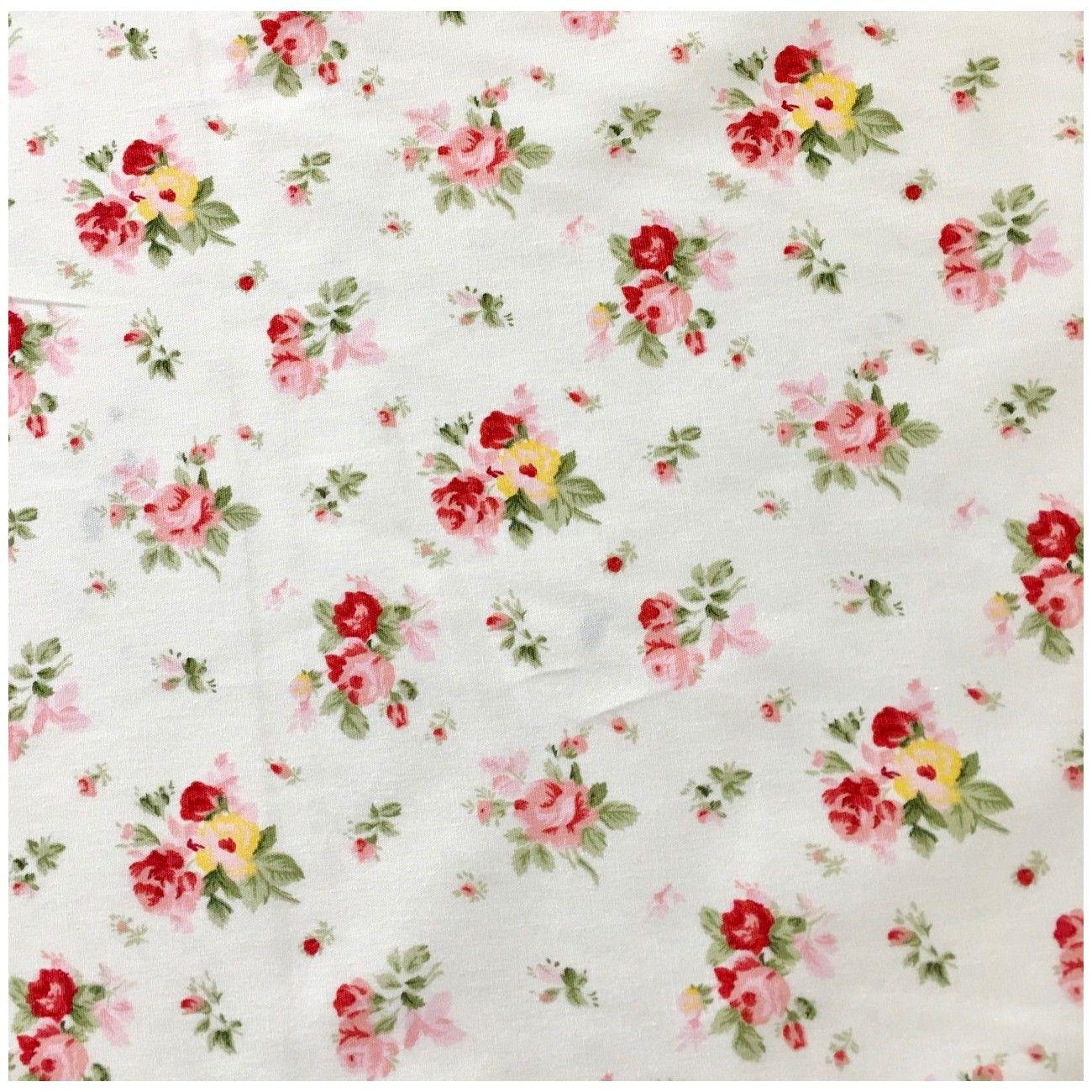 Tissu fleuri Lulu Rose blanc