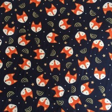 Tissu coton têtes de renard marine - 1