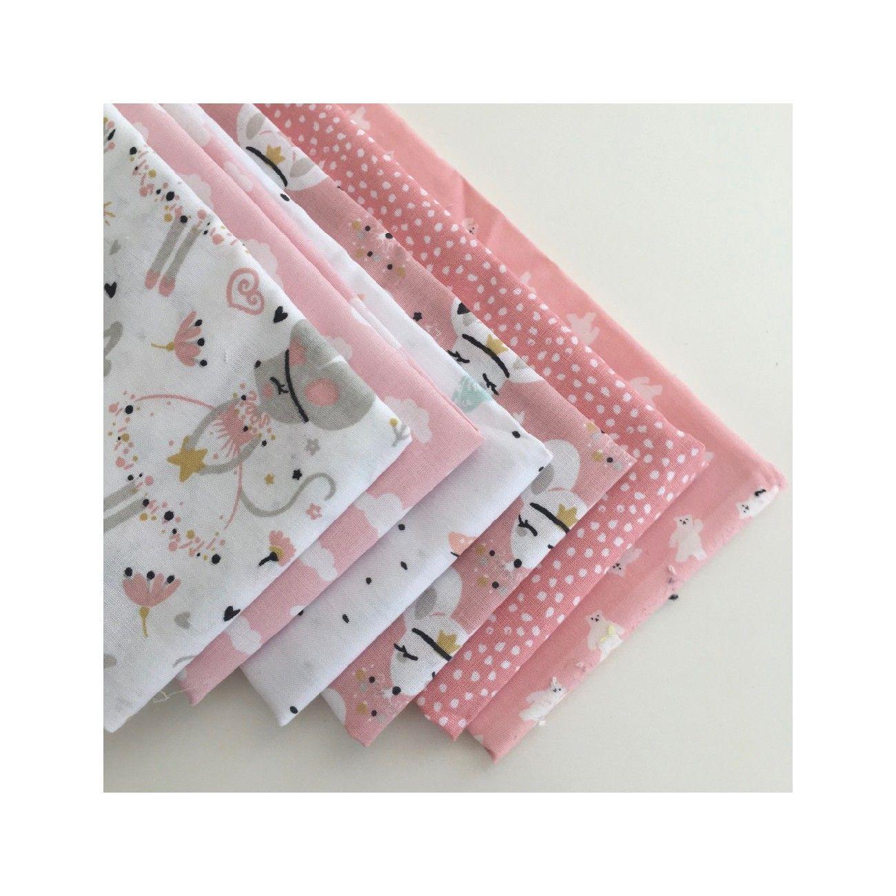Lot de 6 coupons tissu enfant rose - 1