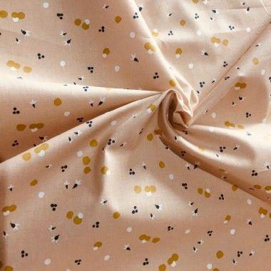 Tissu coton fleurs Nozbi rose