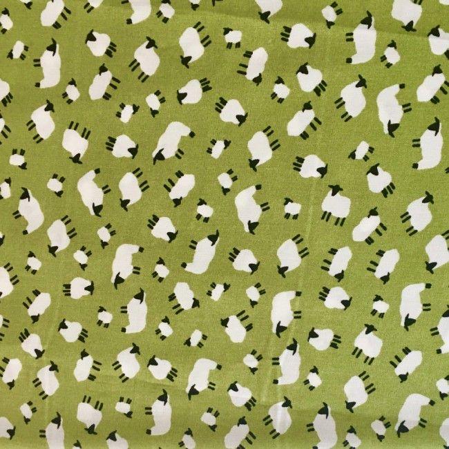 Tissu Mouton Vert - 1