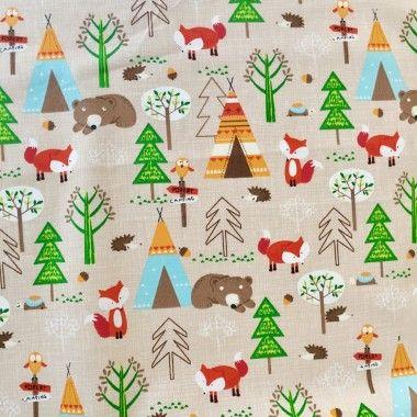 Tissu animaux de la forêt automne - 1