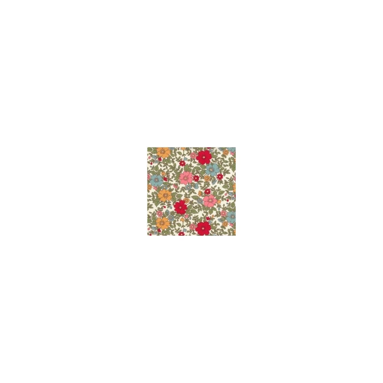 Tissu fleuris Margaux rouge